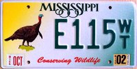 mississippi 2002 conserving wildlife.wild turkey